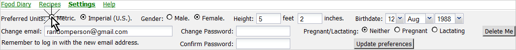 Click the radio button to set your default units to metric.